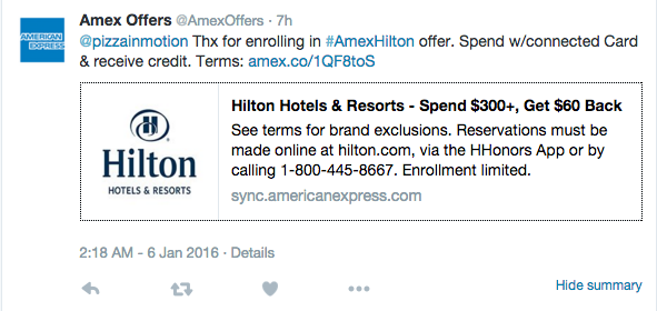 $60 Off Your Next Hilton Stay With American Express