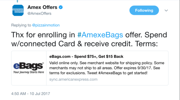 AMEX Sync Offers
