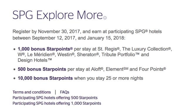 Starwood Preferred Guest Promotion